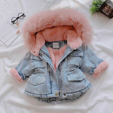 Toddler Winter Outwear Kids Baby Girl Hooded Fleece Warm Thick Fur Denim Coat