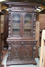 2201015 : Antique French Renaissance Carved Oak Bookcase w/ Figures
