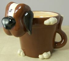 Puppy Dog Ceramic Plant Pot from Fib Burton & Burton Brown & White 6 inches tall