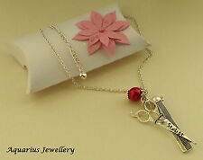 HAIRDRESSERS SCISSORS COMB CHARM NECKLACE FREE GIFT BOX