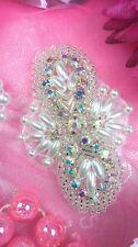 "Jb56 Silver Pearl Beaded Aurora Borealis Crystal Ab Rhinestone Applique 2.75"""