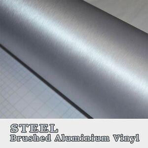 Silver Metal Brushed Aluminium Vinyl Vehicle Wrap Adhesive Bubble Free Graphic