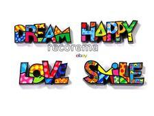 ROMERO BRITTO SET OF 4 MINI POLYRESIN WORDS:DREAM, HAPPY, LOVE, SMILE   * NEW *