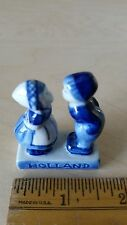 Charming Delft Blue Hand Painted Dutch Boy & Girl Kissing Figurine from HOLLAND