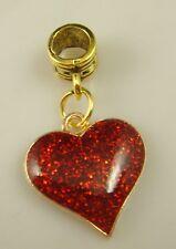 18K gilded European love Charm Bead Fit sterling 925 Necklace Bracelet w3e4s