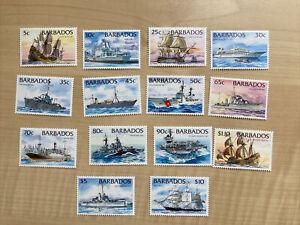 Barbados Stamps Ships Conplete Set SG 1029-1042 MNH