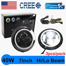 "2X 7""40W LED Halo Angel Eyes Headlight Round Lamp Jeep Wrangler JK TJ Hl/Lo HOTT"