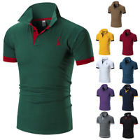 Fashion Men's Slim Fit Shirts Short Sleeve Casual Gol T-Shirt Mulscle Tops Tee