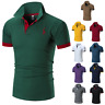 Men's Slim Fit Shirts Short Sleeve POLO button down Casual T-Shirt Mulscle Tops