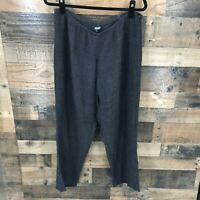 Eileen Fisher Women's Black Linen Semi Sheer Side Zip Flat Front Pants Size