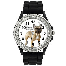 French Bulldog Crystal Rhinestone Mens Ladies Jelly Silicone Quartz Watch SG315P
