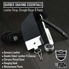 Straight Razor Black Colour Men's Shaving Set With Leather Strop & Paste (3Pcs)