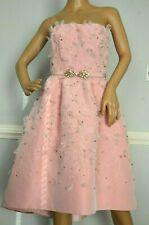 Oscar de la Renta Feather & Crystal Embroidered Belted Pink Valentines Dress 6
