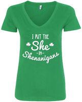 I Put The She In Shenanigans Women's V-Neck T-Shirt St. Patrick's Day