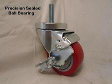 "3"" x 1/2"" x 1-1/2"" Threaded Stem Polyurethane Red Wheel w/ Brake 250 lbs"