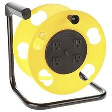 Cord Reel Heavy Duty Storage 100 Ft Capacity With 4 Electrical Power Outlets NEW