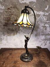 Lampada Con Lavorazione Tiffany Base In Ottone Made In Italy