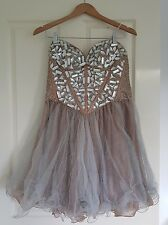 Grace and hart Formal Dress - Short Corset crystal dress - blush/beige