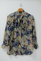 Bernini Women's Floral Blouse Size 8 Multicolored Front Tie Long Sleeve Top