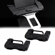 2 Black Car Safety Belt Buckle Anti-Scratch Protective TPU Guard Shell Universal