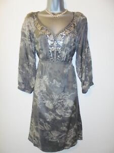 Pepperberry Grey Floral Embellished Beaded Evening Occasion Dress Size 12 Curvy
