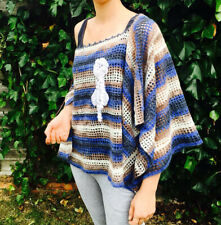 Blue-white color bohemian style short poncho/handmade crochet woman top