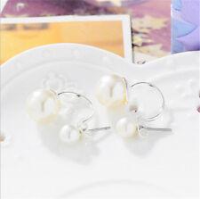 Fashion Crystal Rhinestone Jewelry Women Ear Stud Earrings Double Pearl Silver
