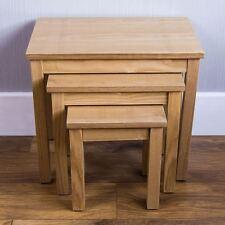 Oakridge Nest of 3 Tables Unit Wood Hallway Side Lamp Coffee Living Room