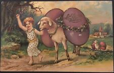 Easter Fantasy ~ Barefoot Girl Leads Parade of Sheep All With Giant Eggs On Back