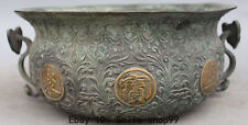 "11"" Old Marked Bronze Gilt Wealth Money Ruyi Flower Treasure Bowl Incense Burner"