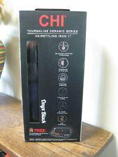 "New! CHI Tourmaline Ceramic  Hairstlyling Iron 1"" BLACK ONYX w Thermal Clutch"