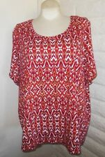 Catherines 3X Adobe Red Rust Scoop Neck Short Sleeves Knit Blouse Tunic Top