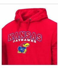 NEW Kansas Jayhawks (L) Polyester Fleece Hoodie  *Colosseum Athletics ~ MSRP $60
