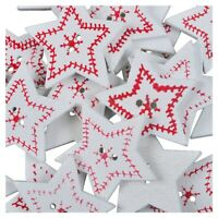 1X(25Pcs X Christmas XMAS Wooden Wood Buttons Sewing Scrapbooking Craft TooN1Q3)