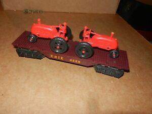 MARX #4528 Erie Flat Car w/Red Tractors, 8 Wheel,  Original