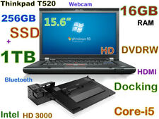 "# Thinkpad T520 15.6"" (256GB SSD + 1TB DVD-RW) 16GB Webcam BT HDMI Docking"