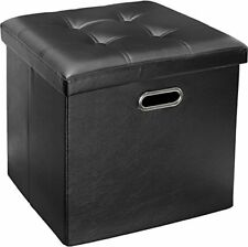 Leather Tufted Ottoman Stool Seat Foot Rest Collapsible Storage Box Black