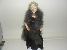 """Vintage 17"""" Effanbee Mae West Doll Black Dress with stand"""