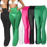 Womens Beach Mesh Sheer Bikini Cover Up Swimwear Transparent Long Pant Trousers