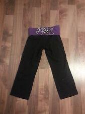 Victoria's Secret PINK BLING Yoga Capri Pants Size XS Purple Leopard Sequin