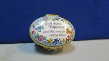 Halcyon Days Enameled Box, Good Health, Happiness, & Time To Enjoy