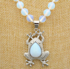 """Natural 8/10mm White Opal Round Beads Gems Frog Pendant Necklaces 18"""" AA"""
