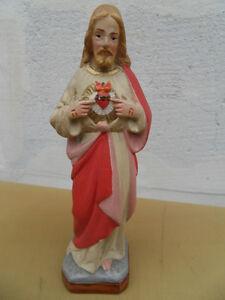 Statue religion Jesus sacre coeur christianisme signé PRAT