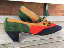 Vintage 70s Johansen Shoes appear unworn, size 7.5 N Multi color Suede