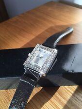 Avon`ETERNAL LOVE` Ladies Women Designer Diamonte Watch Silver Black New Boxed
