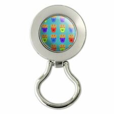 Colorful French Fries Pattern Magnetic Metal Eyeglass ID Badge Holder