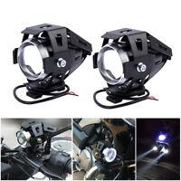 2X Moto Feux Avant 125W U5 LED Phare Lumière Lampe + Commutateur antibrouillard