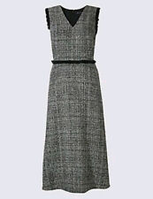 MARKS AND SPENCER  Collection Checked Frayed Edge Midi Dress Size 18