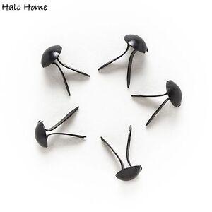 100 Piece Black Round Metal Fastener Brads Embellishment  Scrapbooking 9x5mm