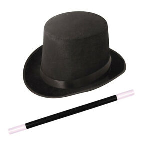 Adults Fancy Dress Magician Black Top Hat Magic Wand Topper Deluxe Magic Show
